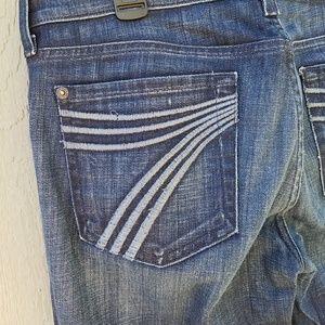 "7 of all mankind ""dojo"" dark flare jeans size 28"